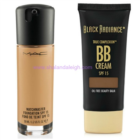 My shade in M.A.C. MatchMaster Foundation is a 7.5 and in the Black Radiance True Complexion BB Cream I wear Café.
