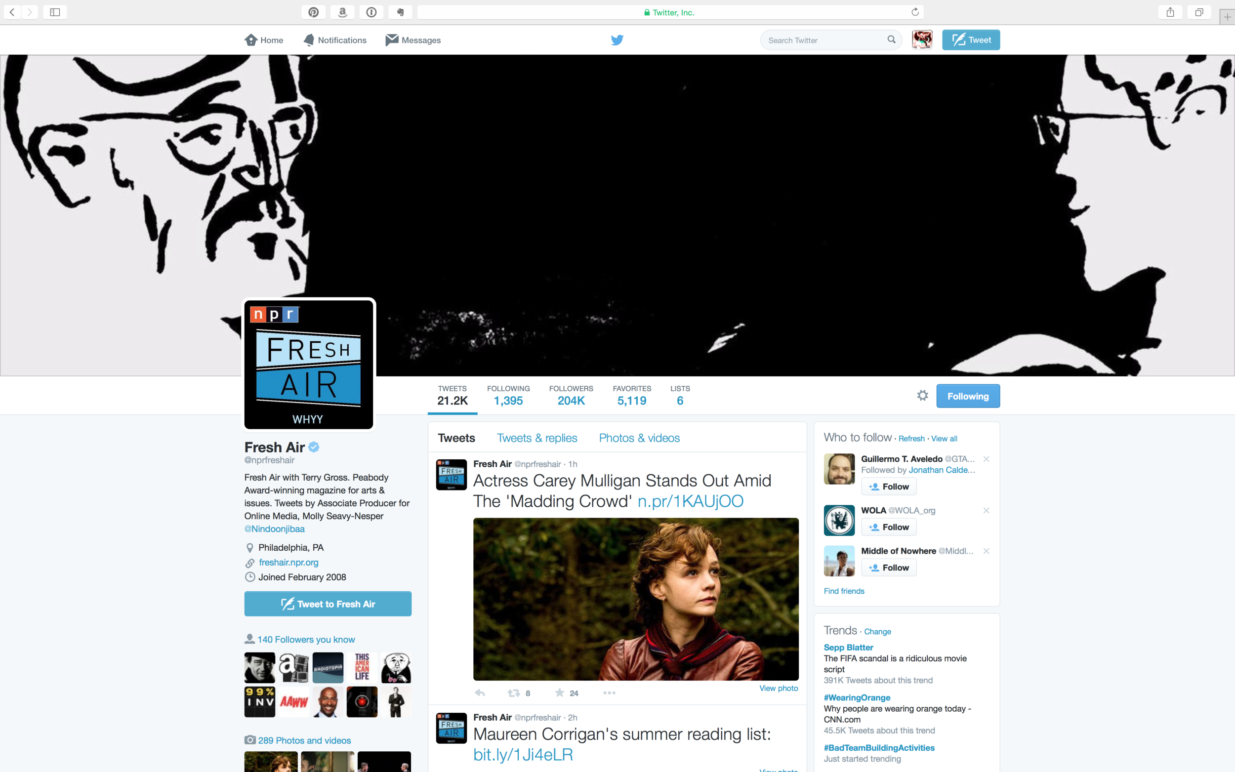 Fresh Air with Terry Gross Twitter Page
