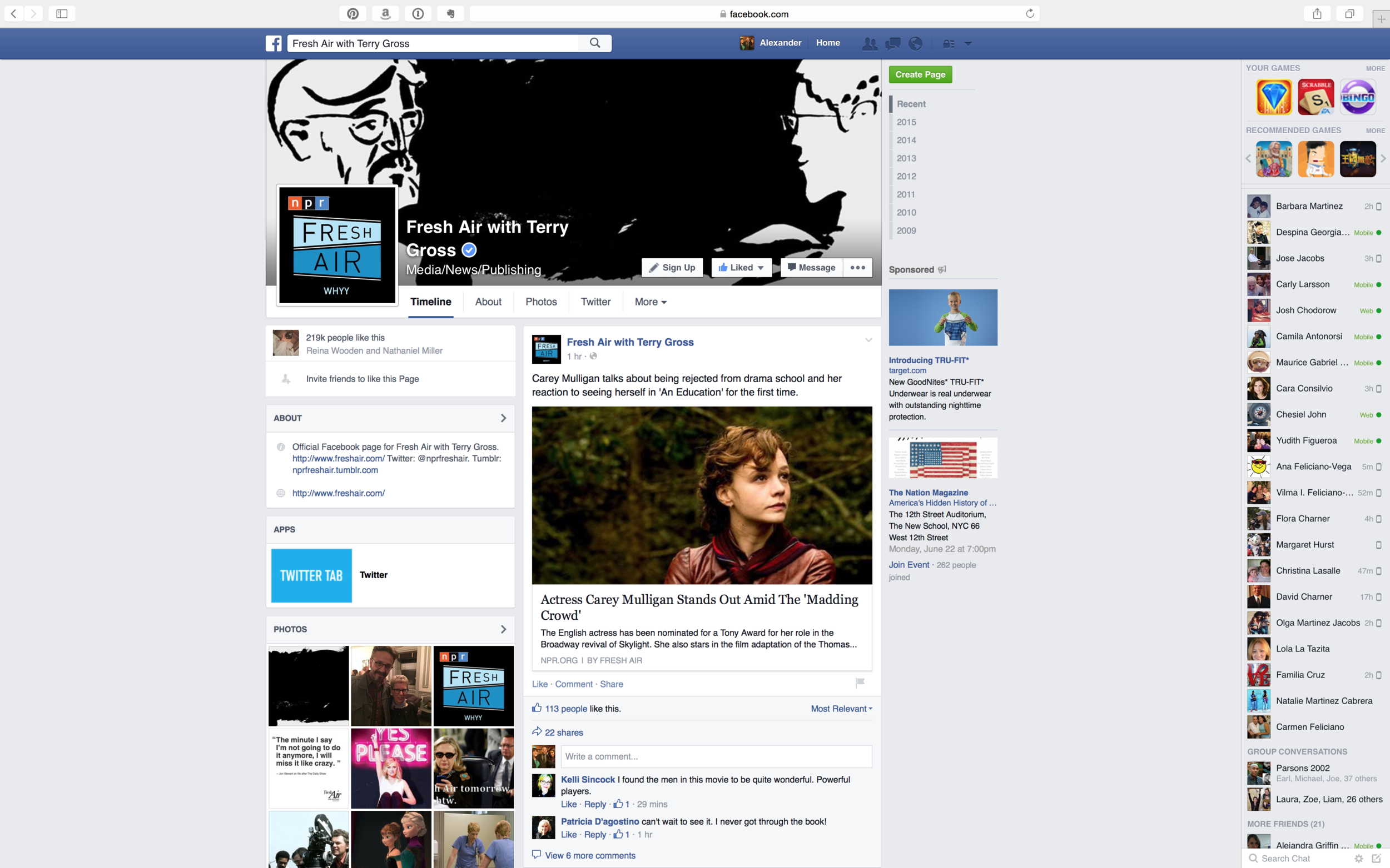Fresh Air with Terry Gross Facebook Page