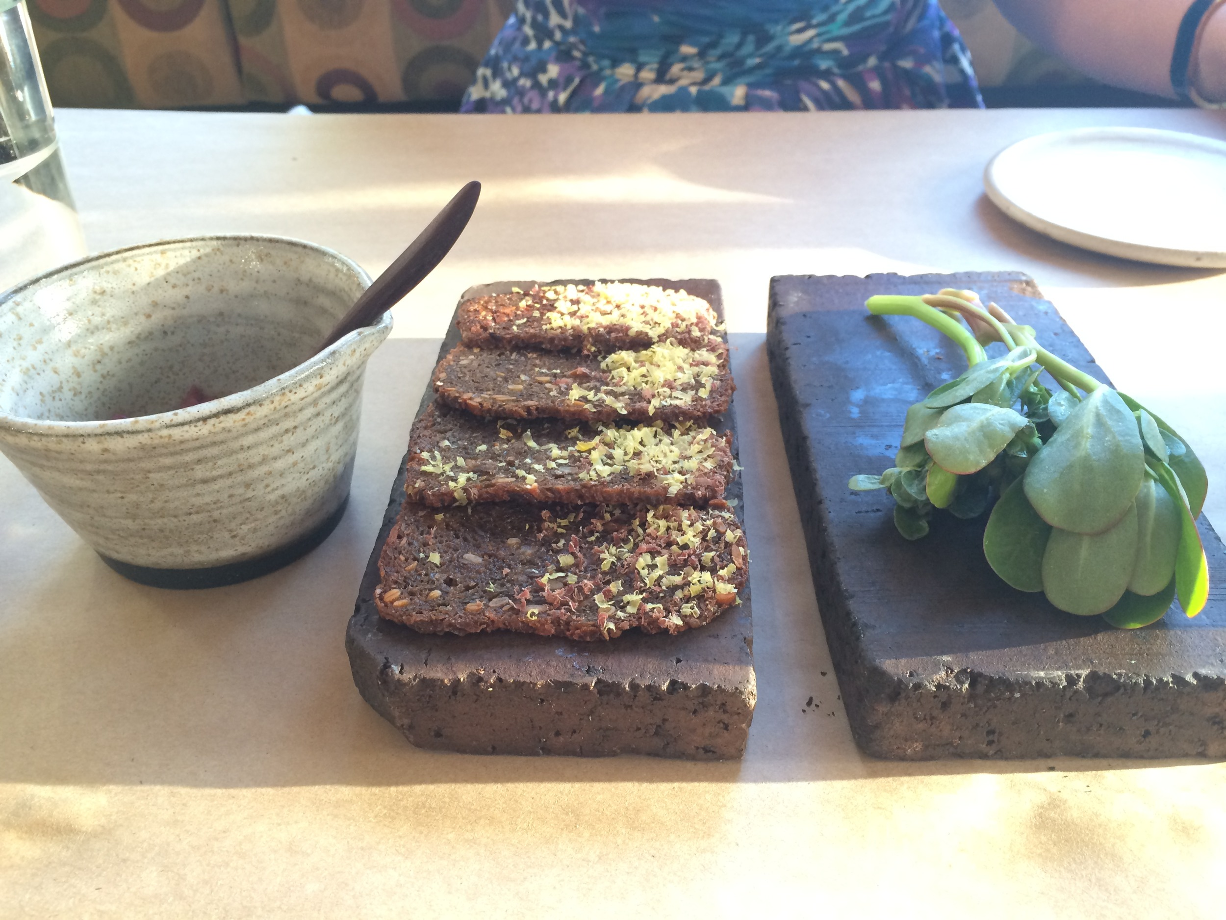 Aged venison, cracker and purslane.
