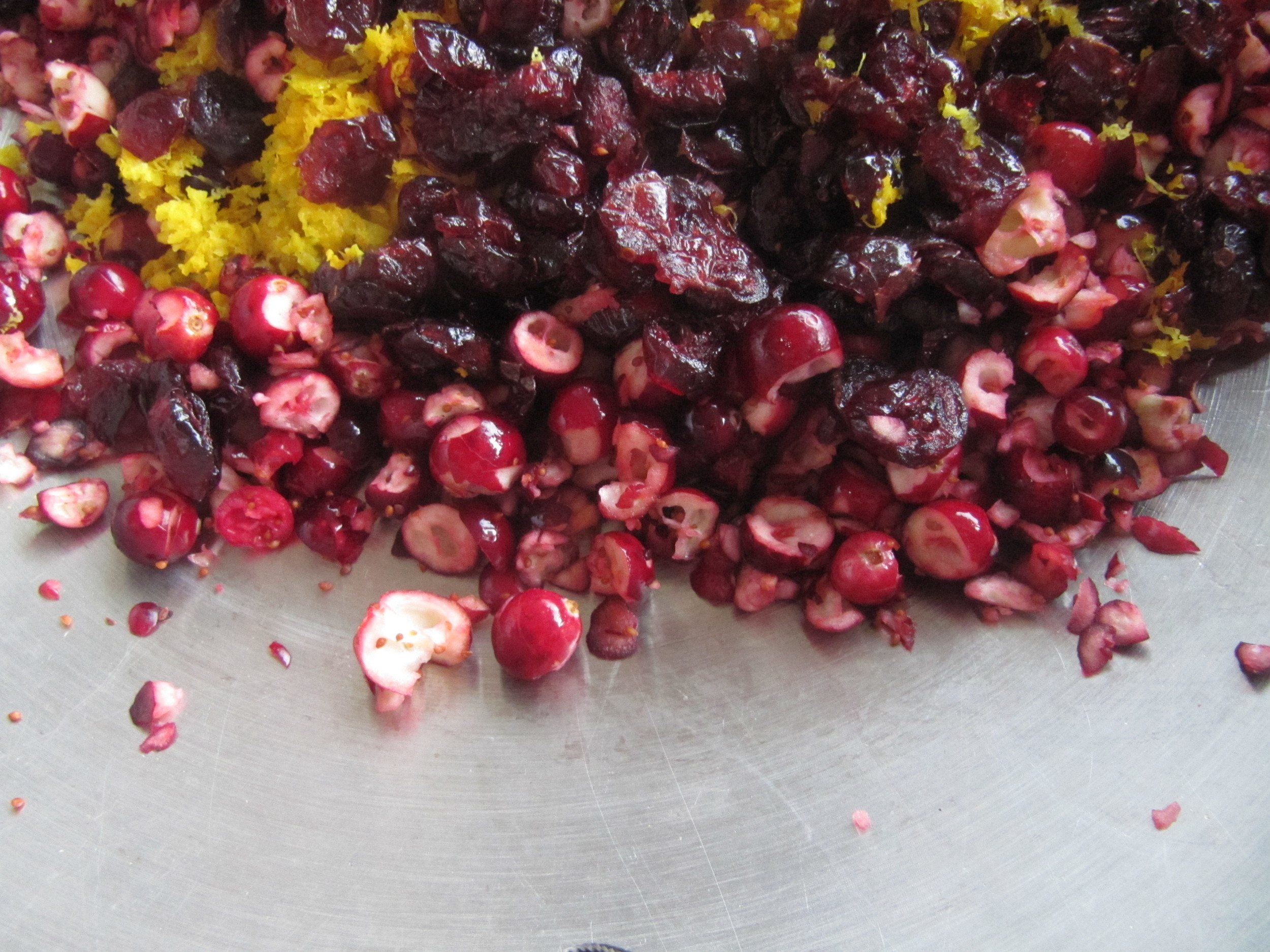 Chopped cranberries ready for fermentation