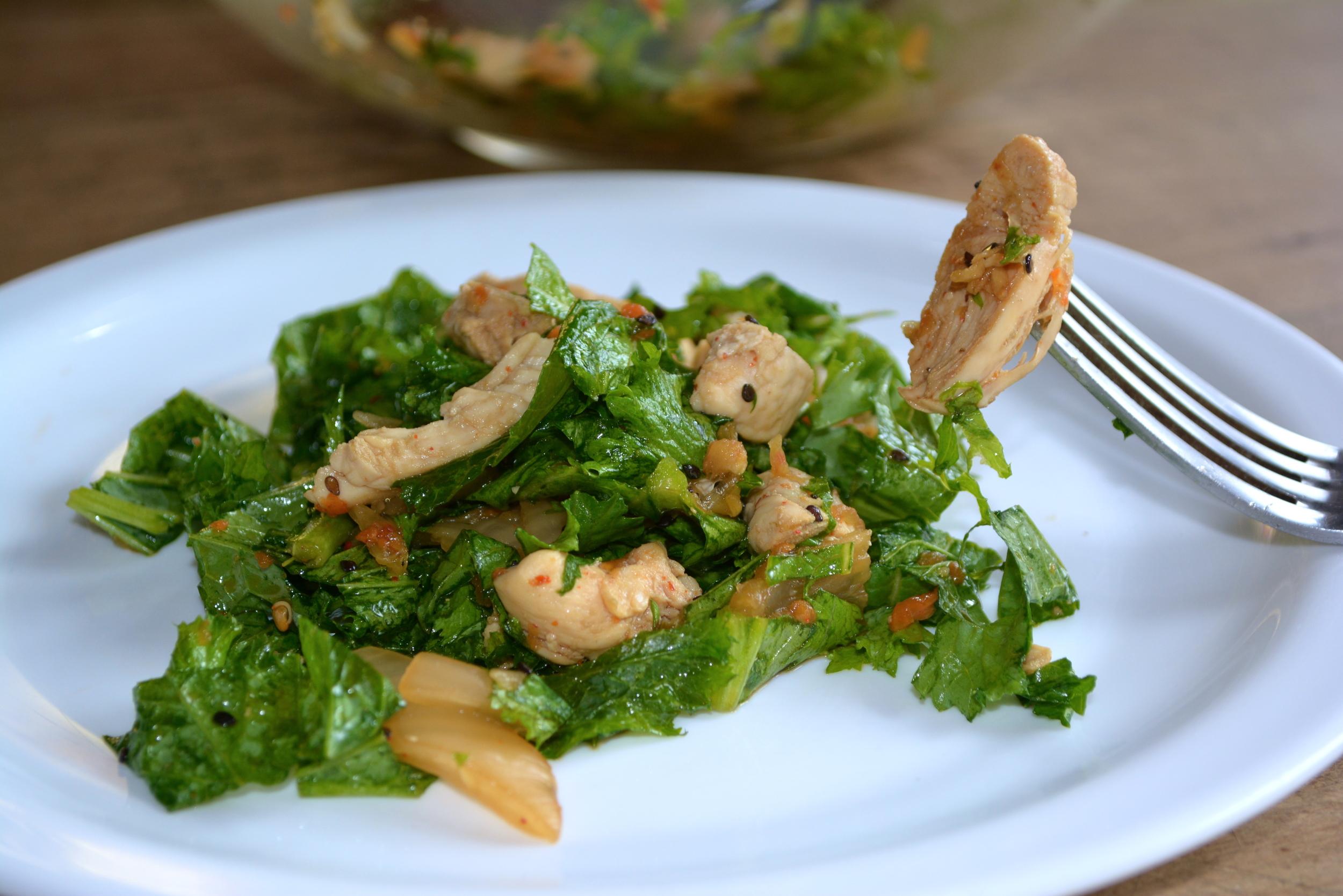 Kimchi Sesame Mustard Green Salad w/ Chicken