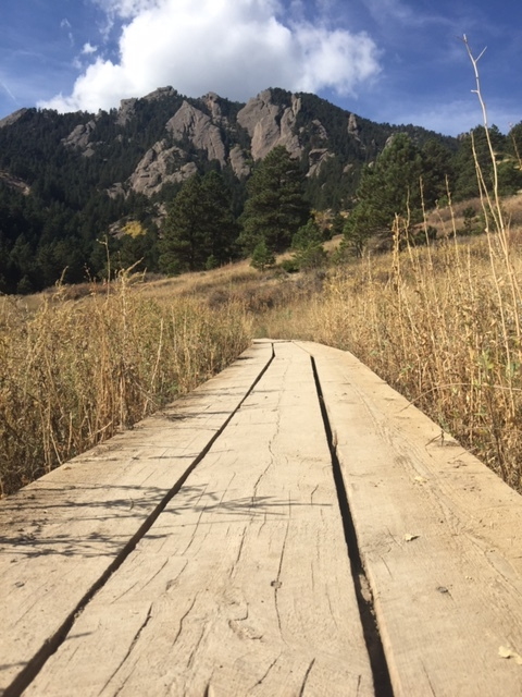 Goodbye Boston. Hello Boulder. Trail at Chautaugua Park Boulder, CO