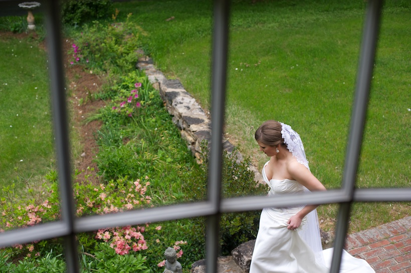 Wedding day photo by Josh Glessner of Glessner Photography of the bride during the First Look at the backyard wedding of J.P. Perkins and Katherine Henry in Asheboro, NC