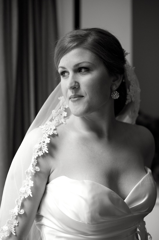 Wedding day black and white bridal portrait by Elizabeth Glessner of Glessner Photography of the bride wearing a Jenny Lee wedding dress from Carine's Bridal in Washington DC and a vintage cathedral veil with hair and makeup by Carla White of Greensboro at the spring backyard wedding of J.P. Perkins and Katherine Henry in Asheboro, NC