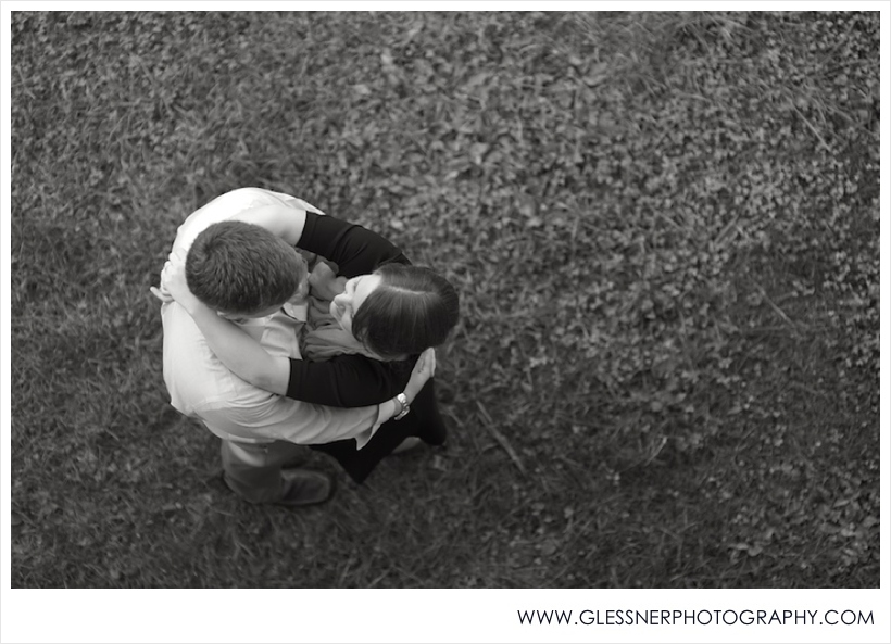 Black and white image of couple embracing