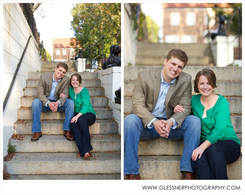 Engagement photo of couple sitting on steps in Old Salem
