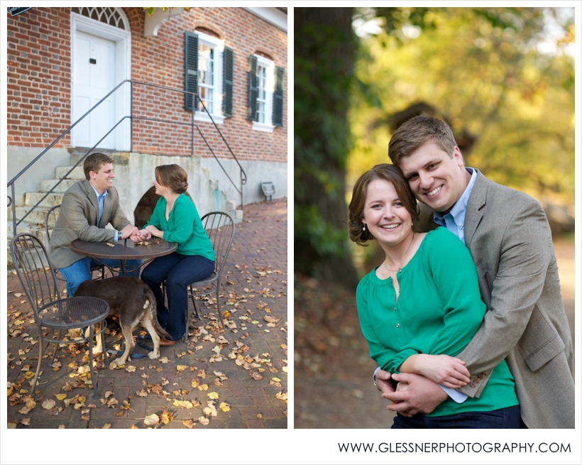 Couple sitting at cafe table in Old Salem