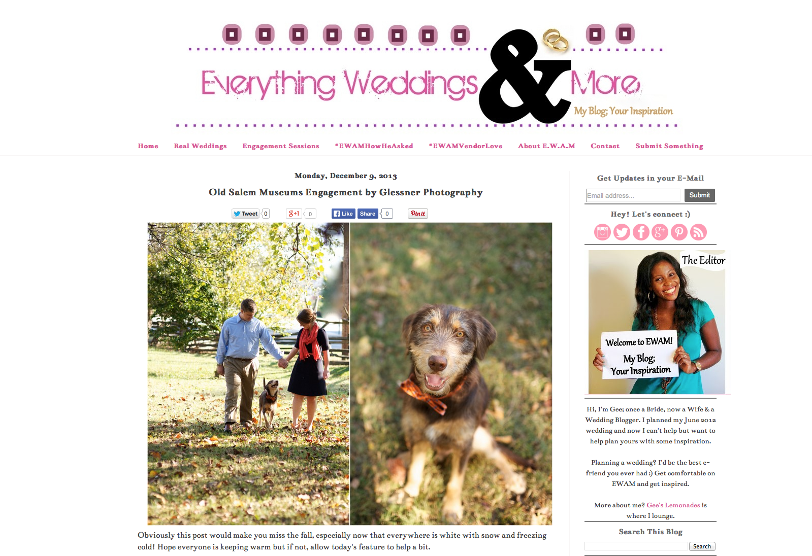 Christina Inman and Lucas Routh's Winston-Salem engagement session with their dog at Old Salem featured on Everything Weddings and More