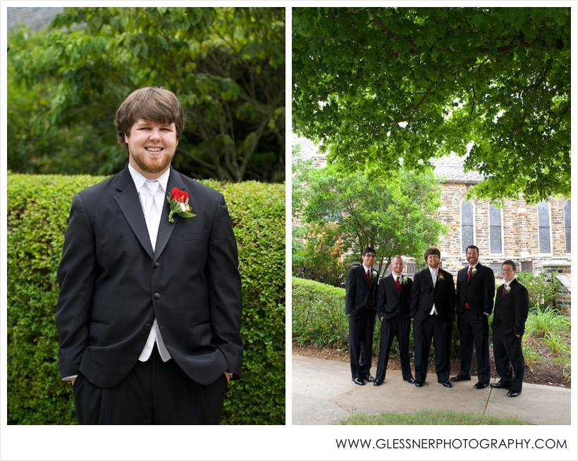 Matthew Wilhelm and groomsmen at St. Leo's Catholic Church in Winston-Salem, NC