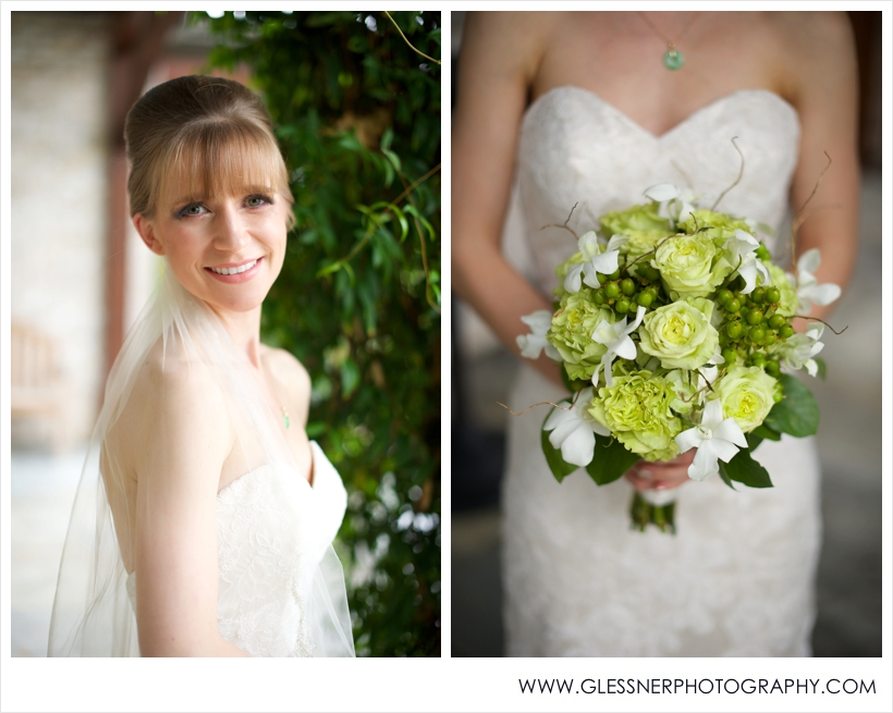 Aksana Vasilyeva's bridal portrait session at Paul J. Ciener Botanical Gardens in downtown Kernersville, NC. Green and white flower bouquet. Photo by NC wedding photographers Glessner Photography.