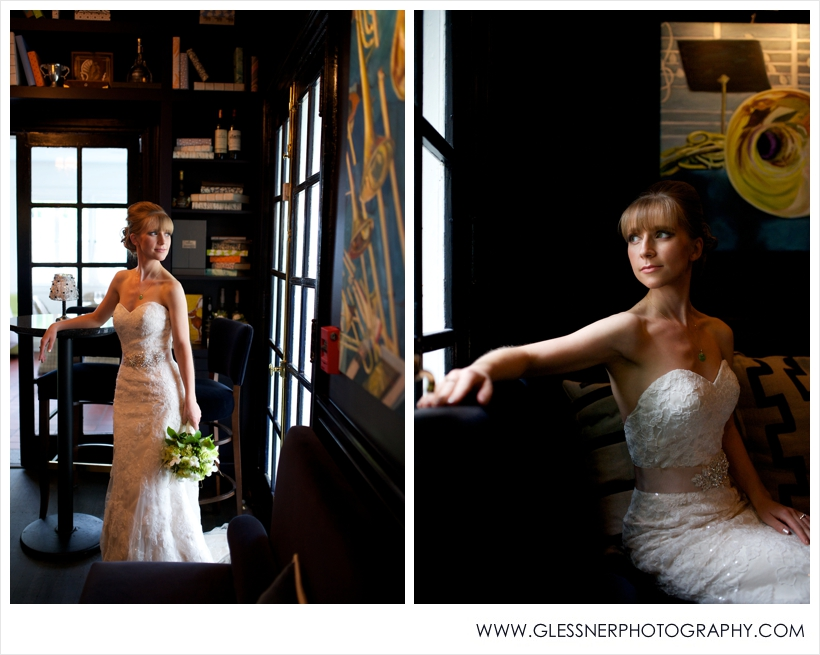 Aksana Vasilyeva's bridal portrait session at Spring House Restaurant in downtown Winston-Salem, NC. Photo by NC wedding photographers Glessner Photography.