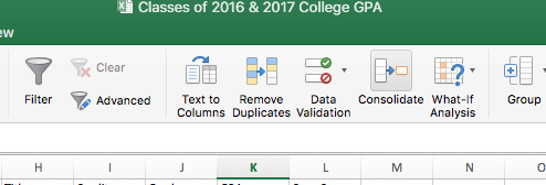"The Consolidate function is in the ""Data"" ribbon on Microsoft Excel."