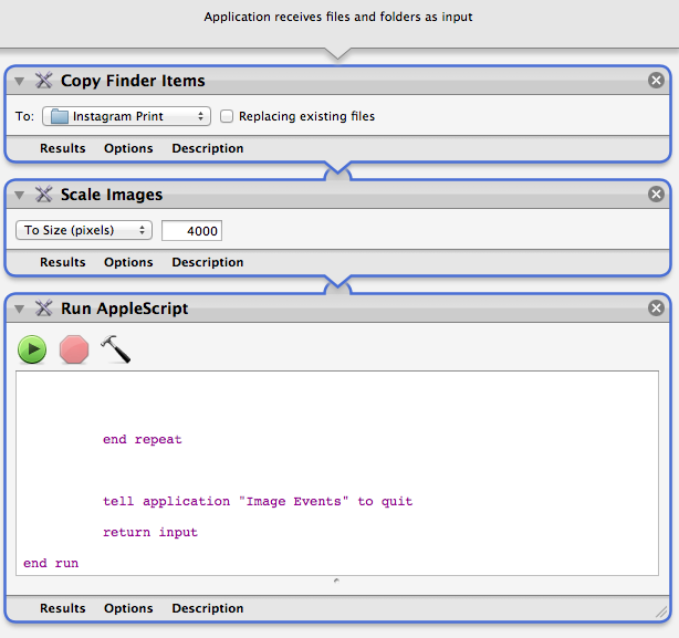 The updated automator application (saved in my applications folder)