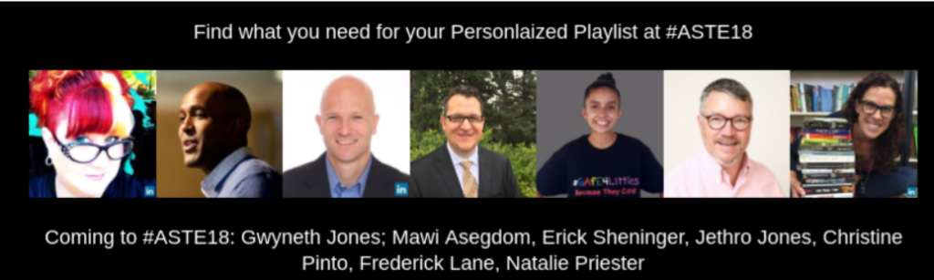 Honored to be invited to come to ASTE to present with these amazing other presenters.