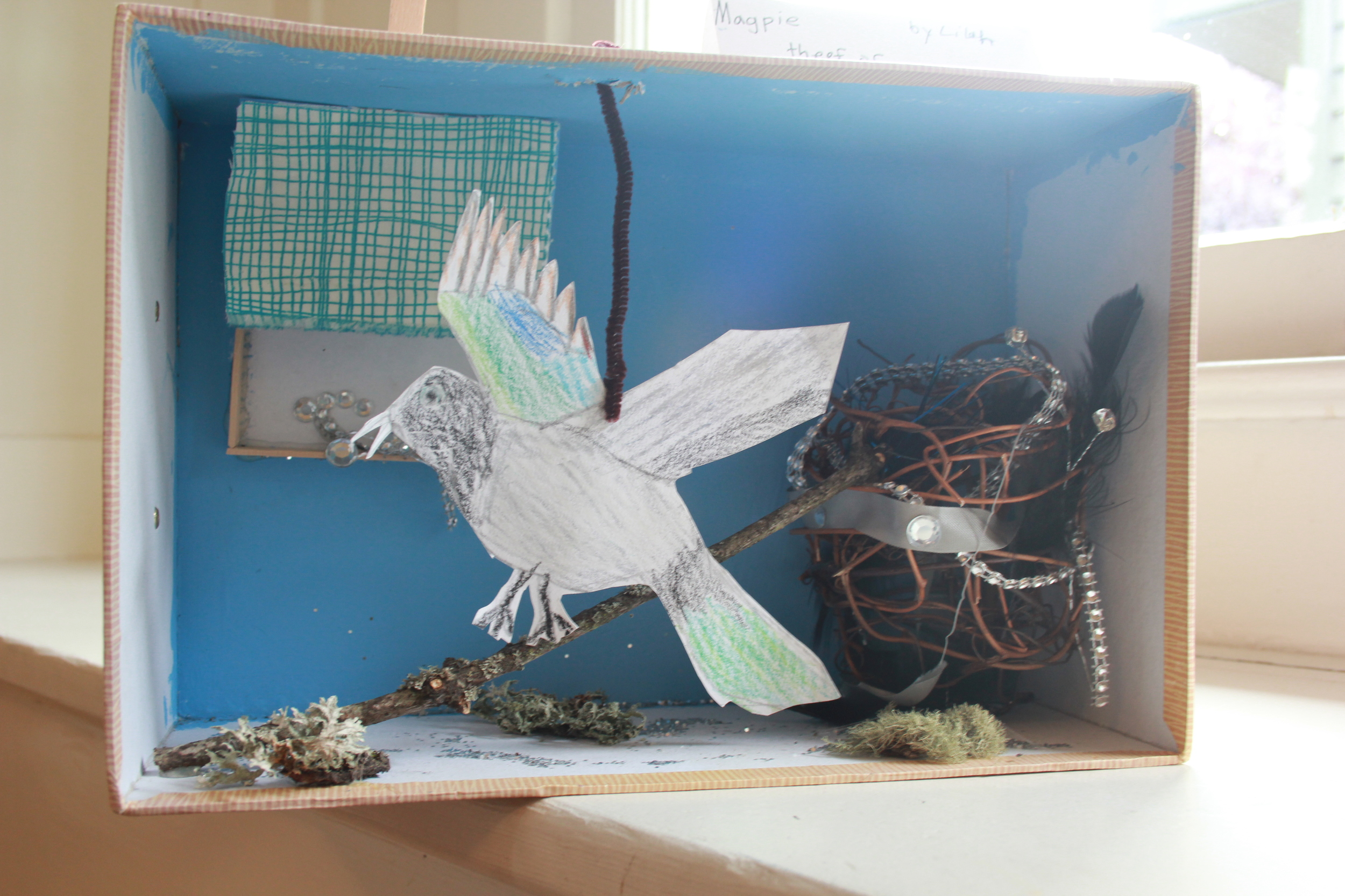 """""""Magpie: The Thief of Shiny Things"""" Diorama by Lilah (age 8)"""