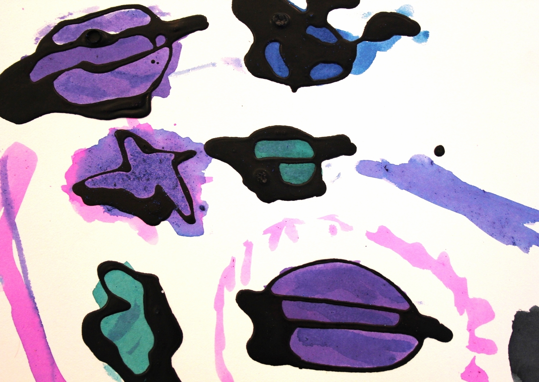 Black glue + watercolor solar system