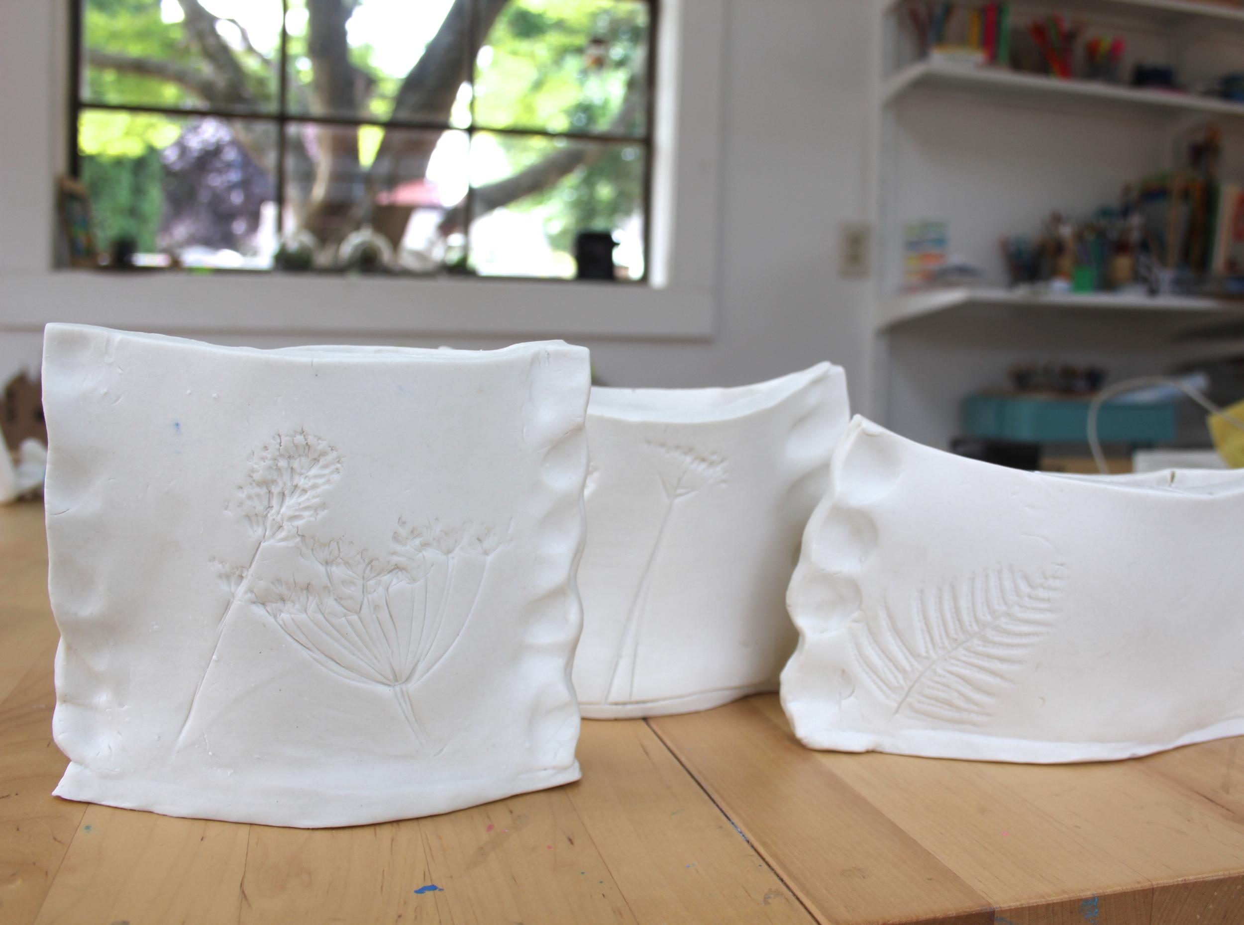 Pressed flower porcelain vases