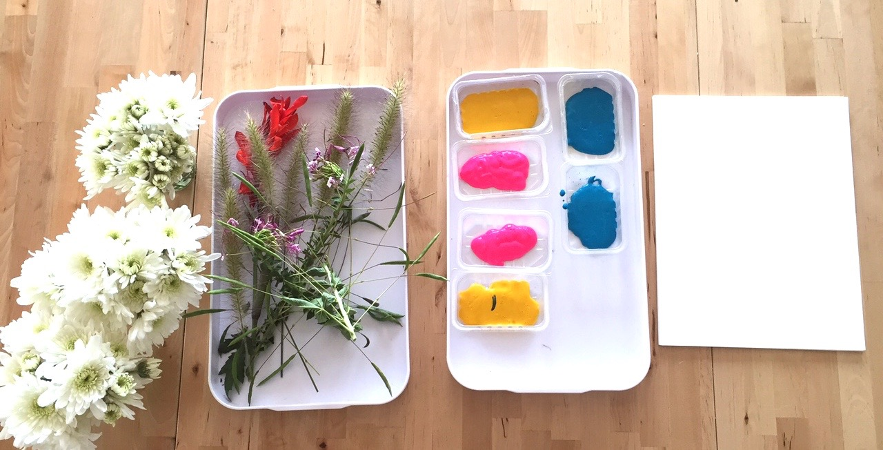 Gather some garden textures and see what happens when they take a dip in paint.