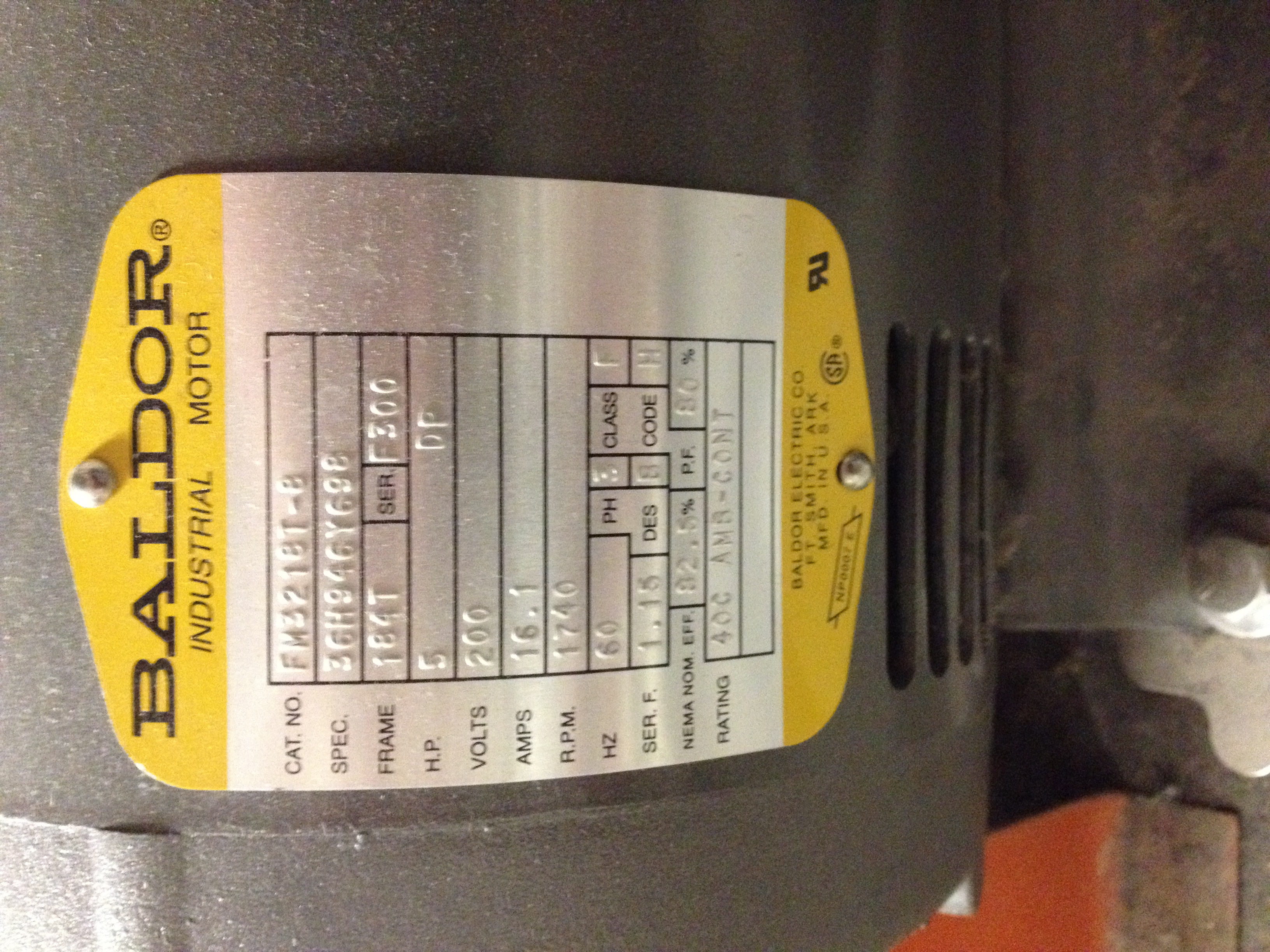 Nameplate  5 H.P., 200 Volts, SER F 1.15, 3 Phase, Class F, DES 8, Code 8, EFF 82.5, PF 80, Rating 40 C Amb-Cont.