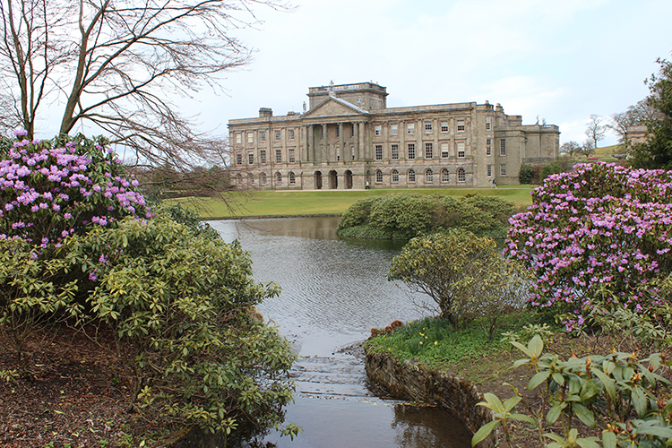 View of Lyme Hall over the lake.