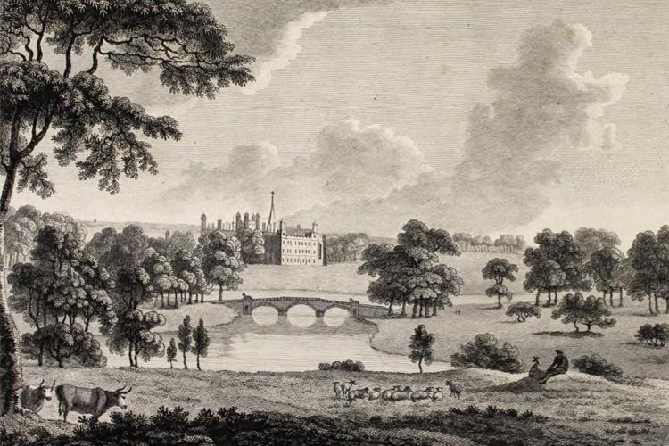 1780 engraving of the Lancelot Brown landscape