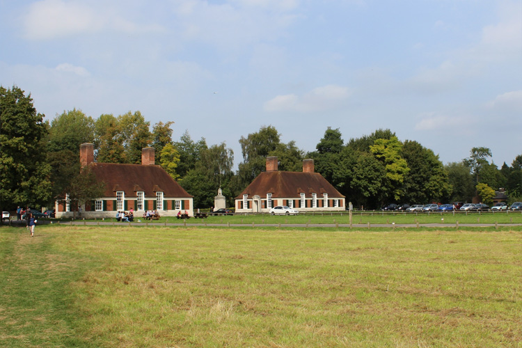 The Lutyens Lodges fronting Runnymede meadow.