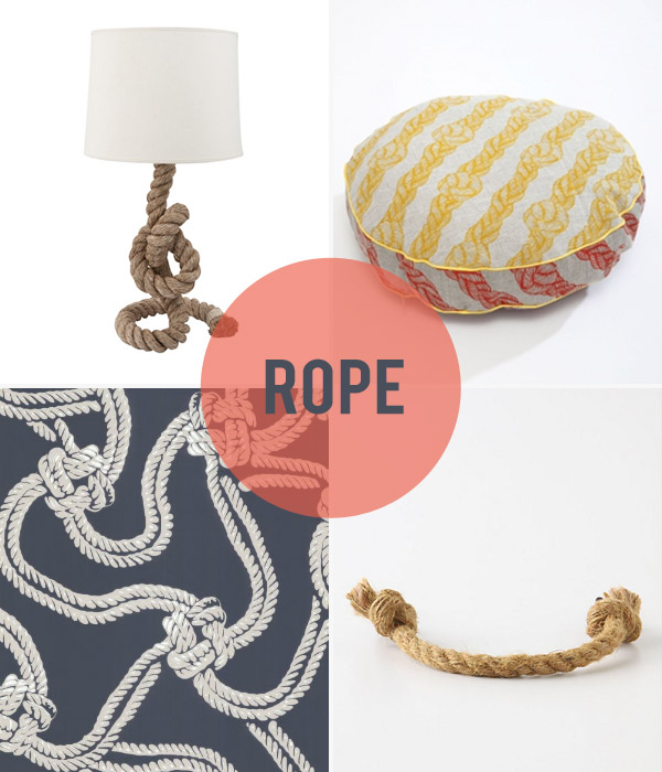 Clockwise:Pier Rope Table Lamp(40 x 40 x 82cm), $149,  Freedom . Circle cushion (40cm diameter), $165,  Nancybird .Pliant Rope Handle (7in), USD$12,  Sibella Court for Anthropologie . Rope93/9032 wallpaper,  Cole & Son .