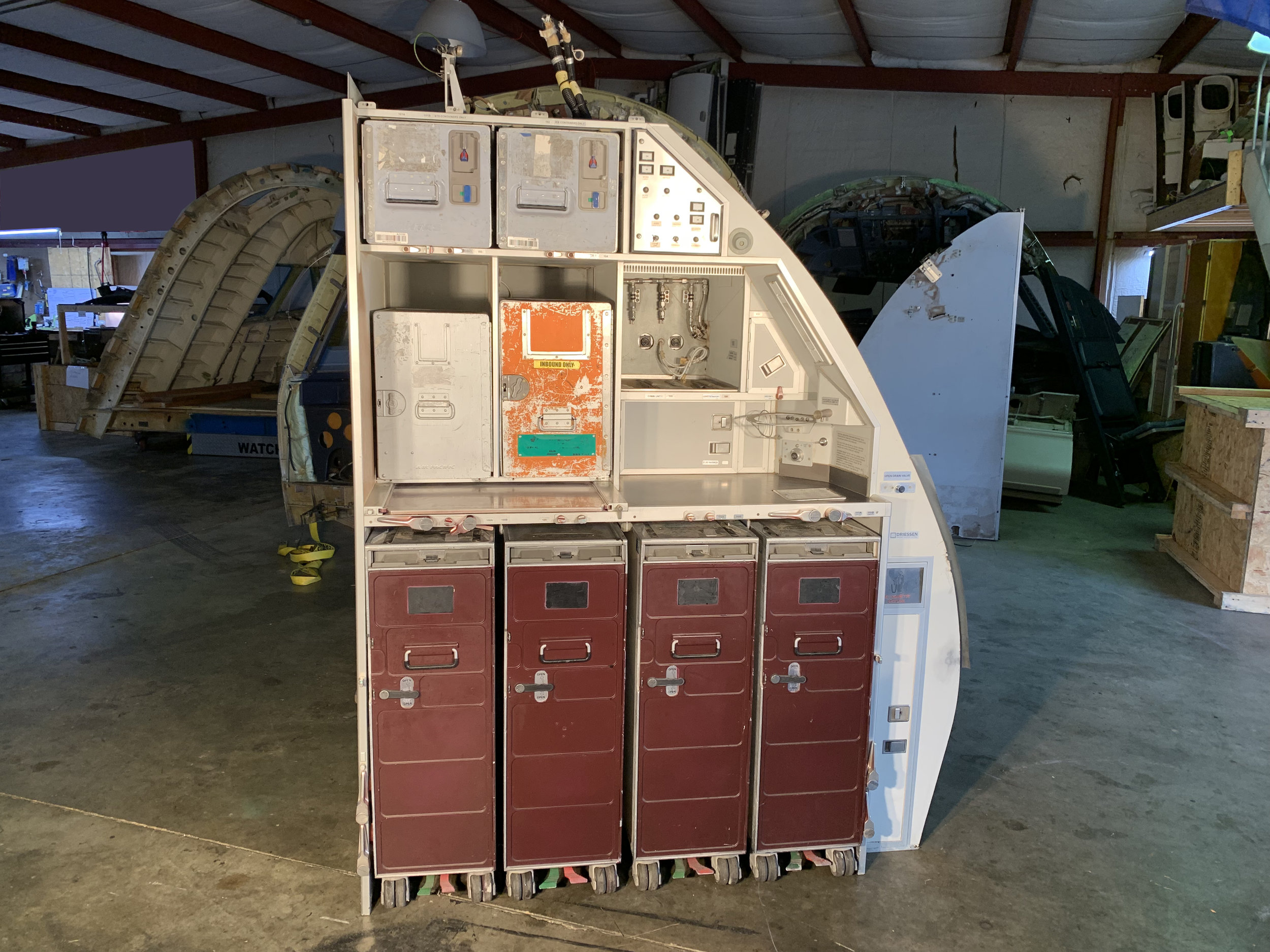 Narrow Body Galley - A320 - This galley is ex-A320, and comes complete with containers, galley carts, bins, hatches and trash can.USD $3,500