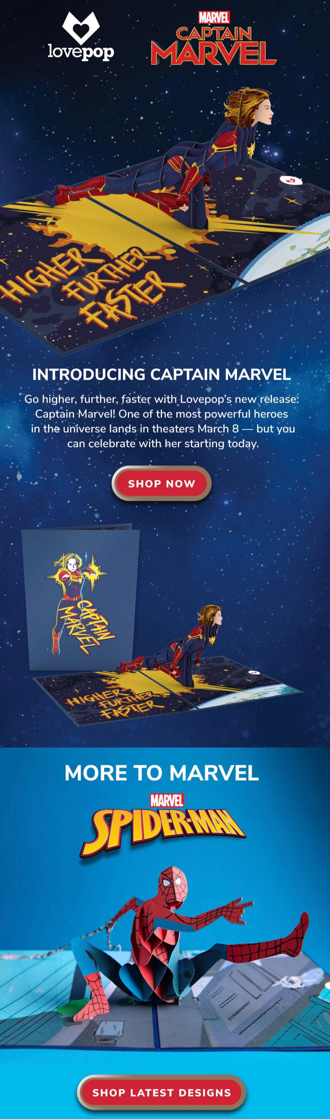 Lovepop Cards new design email launch:  Marvel's Spider-Man