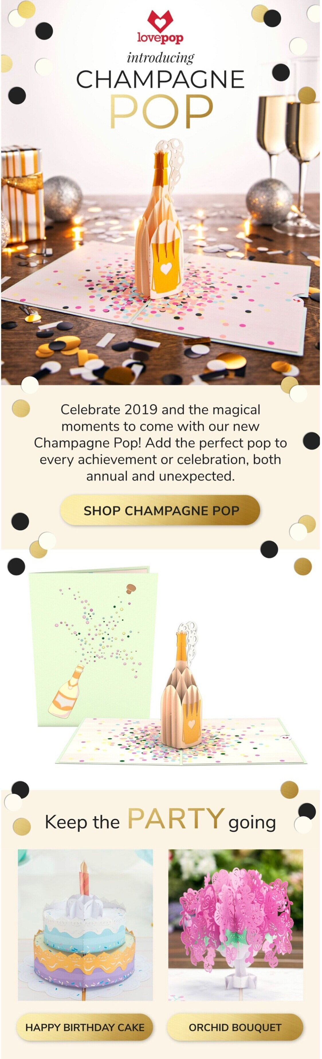 Lovepop Cards new design email launch:  Champagne Pop