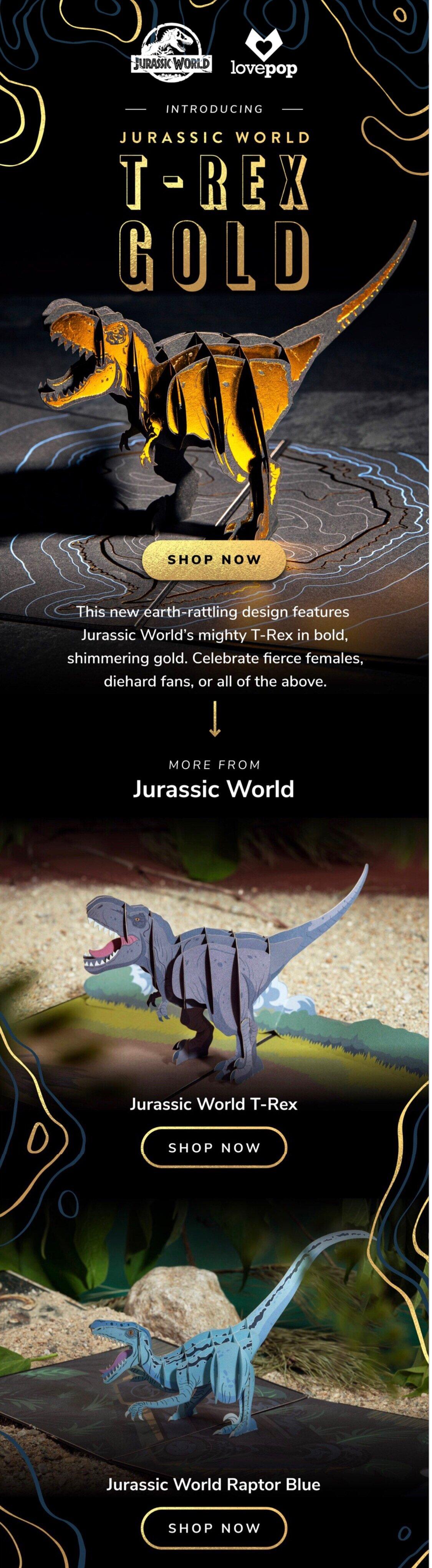 Lovepop Cards new design email launch:  Jurassic World