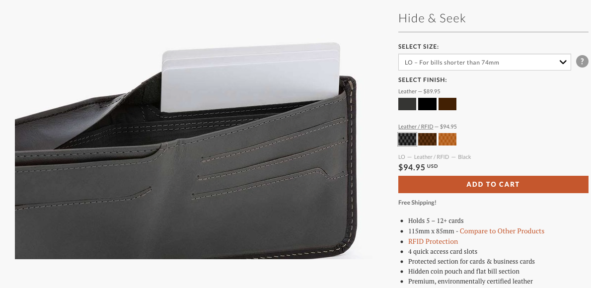 The brand from where my boyfriend originally bought his wallet has an upgraded/premium version with RFID protection ( https://bellroy.com/products/hide-and-seek-wallet/leather_rfid_lo/black#image-5 )
