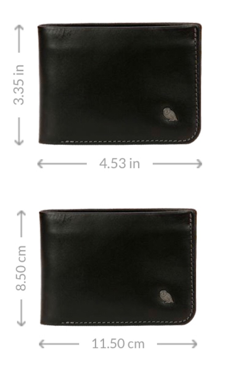 Size of my boyfriend's current wallet: 115mm x 85mm