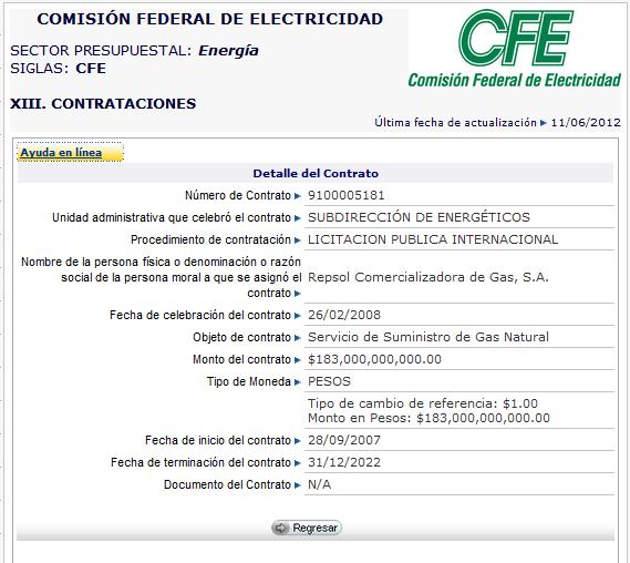 Detalles del contrato entre la CFE y Repsol para la compra de Gas Natural por 15 años obtenido a través del portal de transparencia del IFAI por el grupo citado en [5].