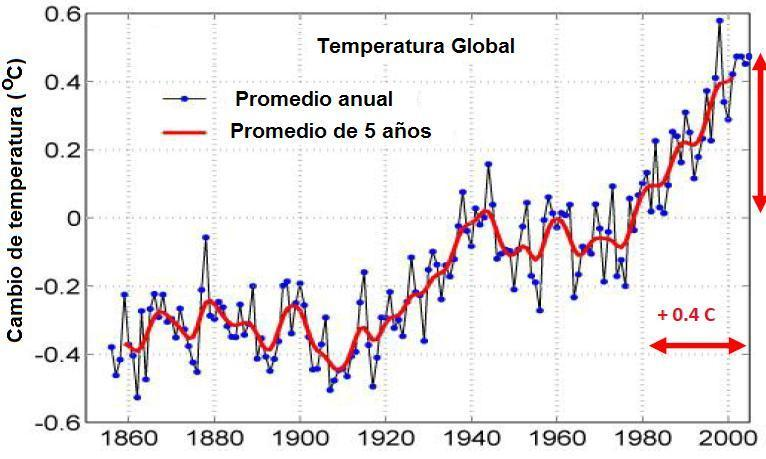 Figura 5. Cambio de temperatura respecto al valor de 1981.