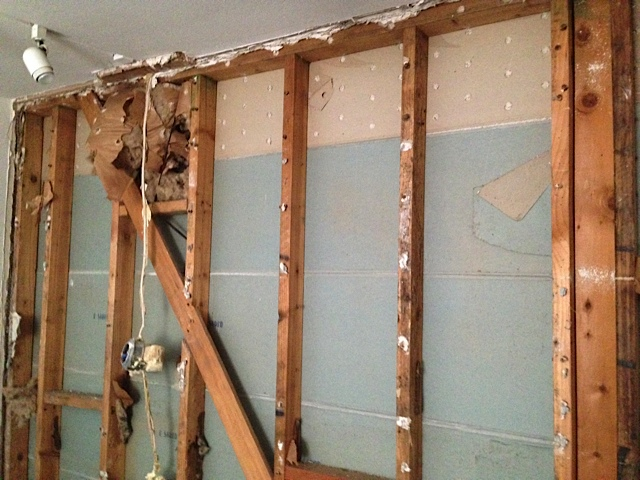The studs clearly exposed with no insulation. Now we're ready to build a new wall.