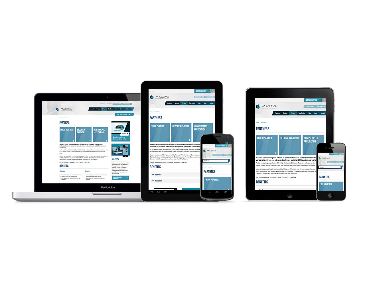 Maxava gets a new responsive website design   Partners page