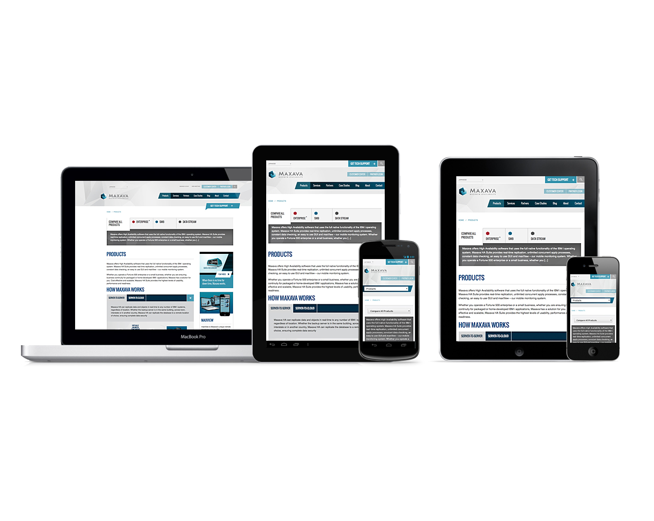 Maxava gets a new responsive website design   Products page