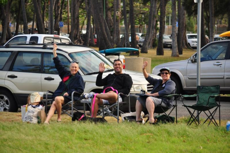 Volunteers sit in style as they watch the bikes during the swim and the run.