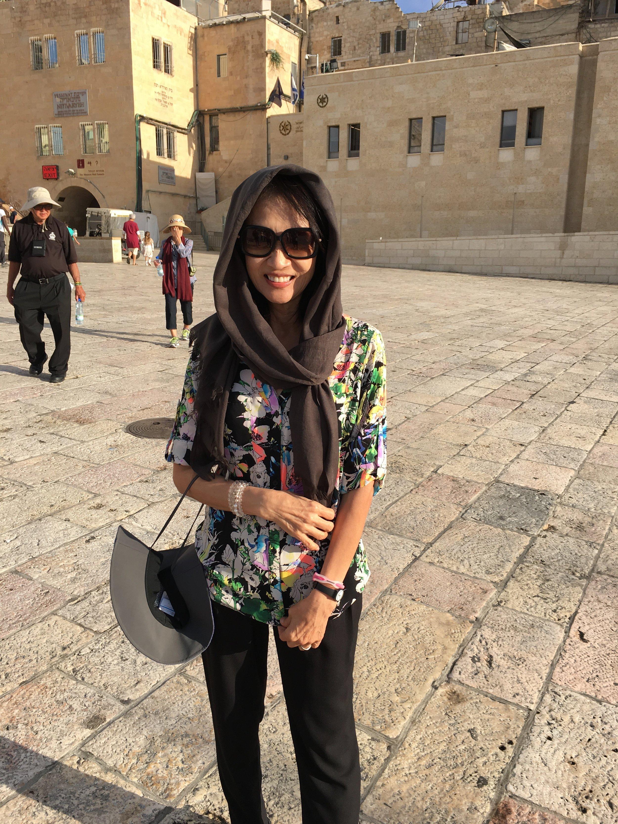 Karen at the Western Wall in Jerusalem