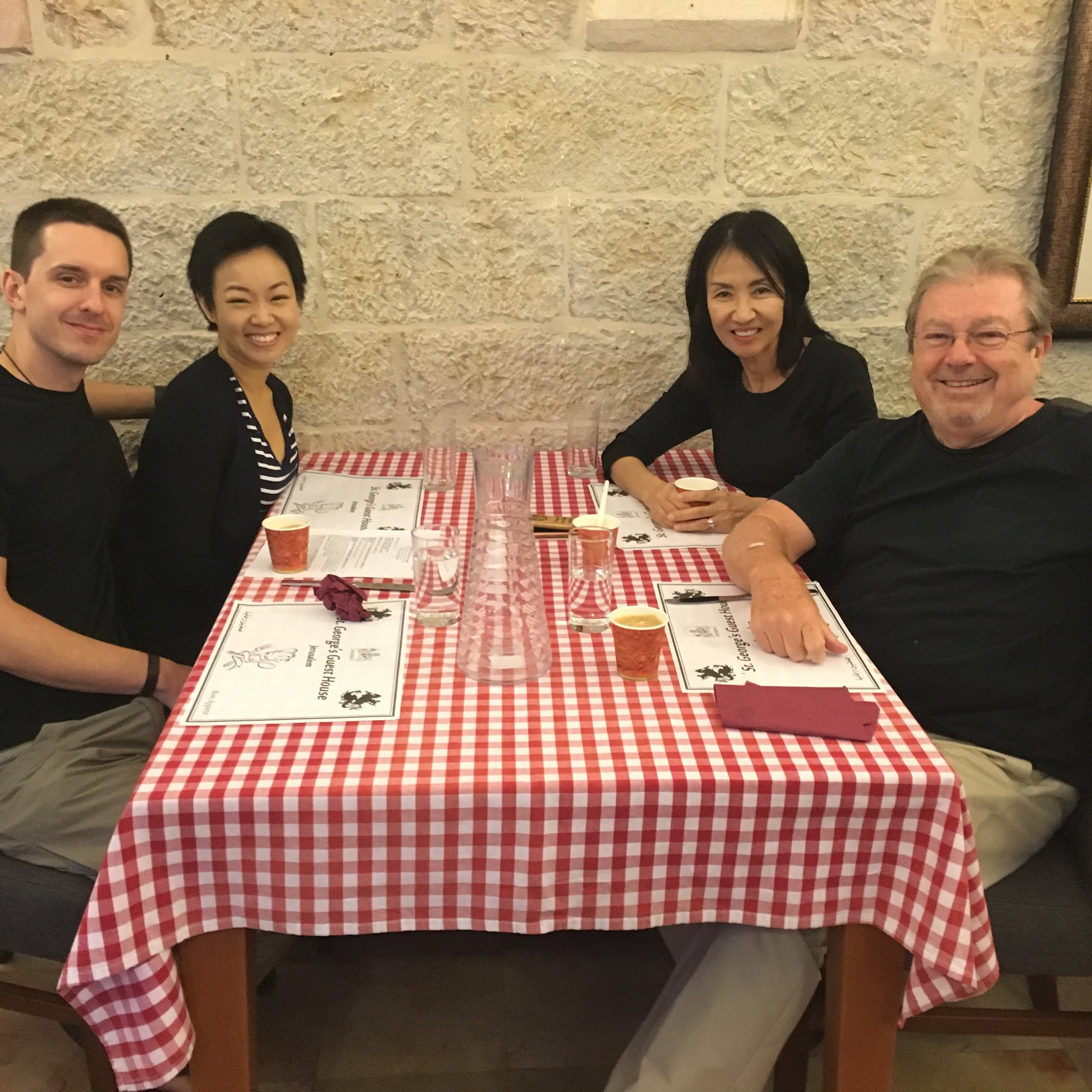 Karen with her family in Jerusalem at the Pilgrim Guest House of St. George's Anglican Cathedral
