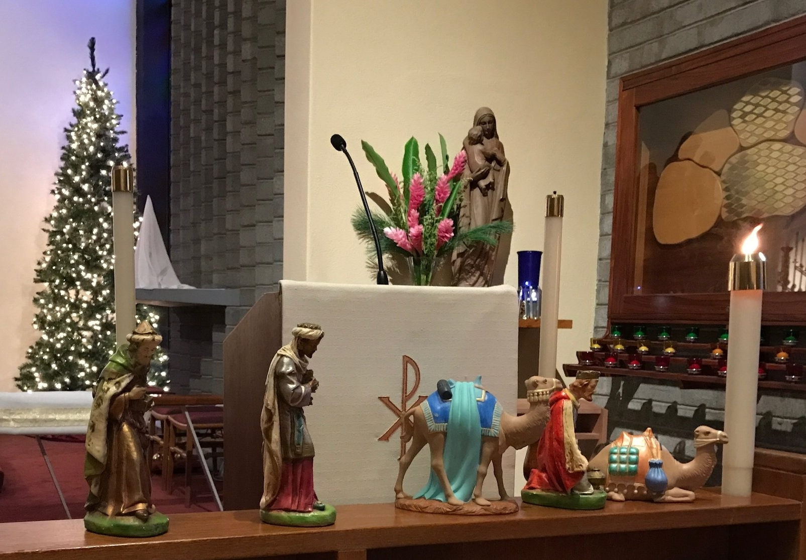 The Magi are making their way through the church to the stable. All travel reports indicate they will be on time for the High mass on January 6.