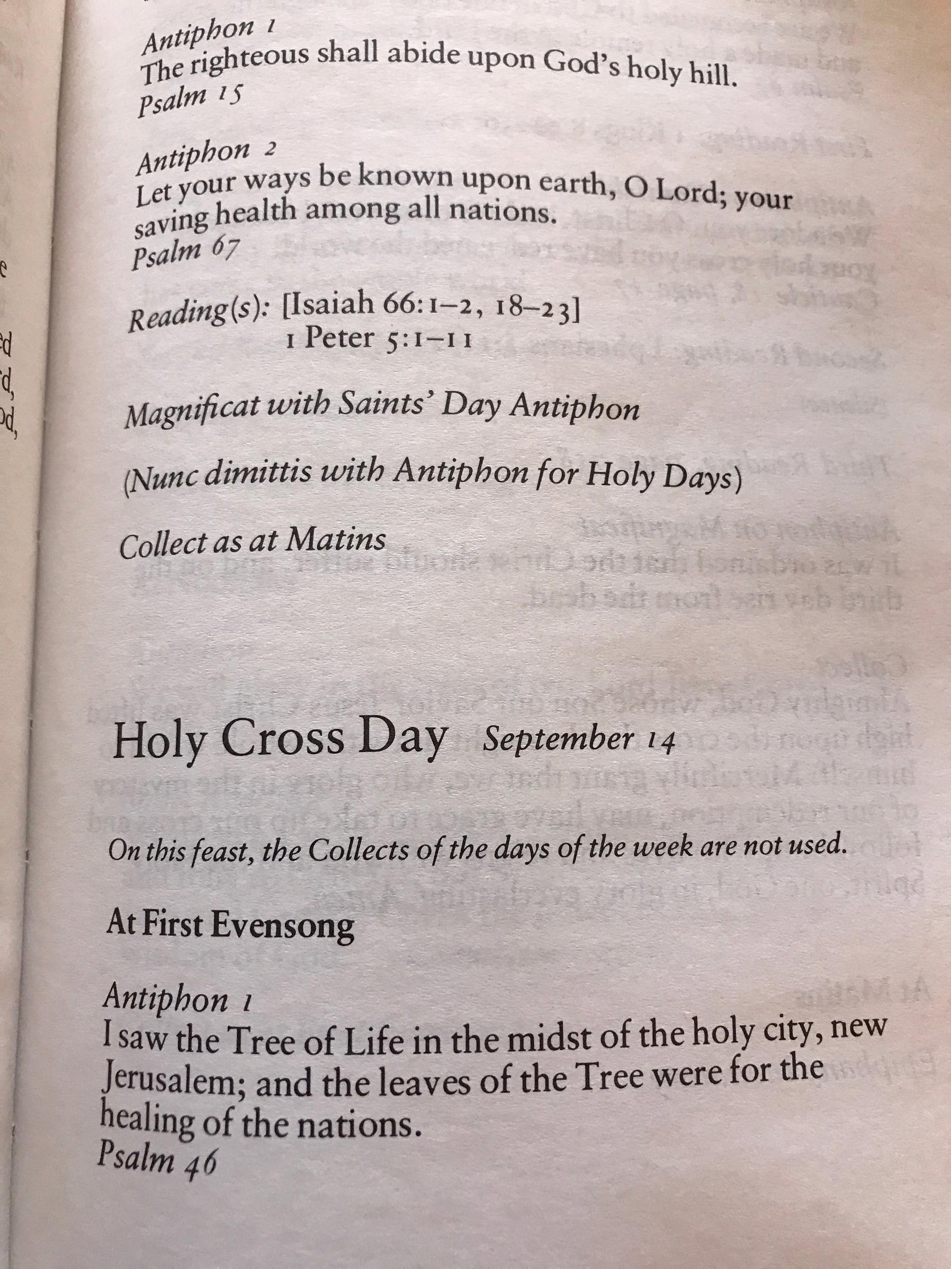Holy Cross First Evensong