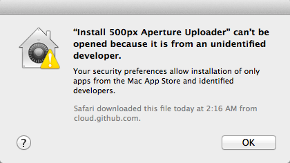 Temporarily bypass Gatekeeper to install applications - Example of Gatekeeper blocking installation.