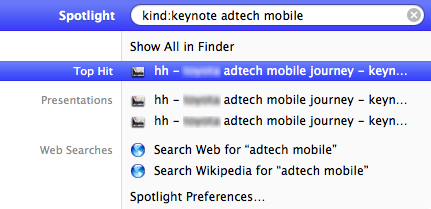 Apple Spotlight refined search by kind:application and keywords