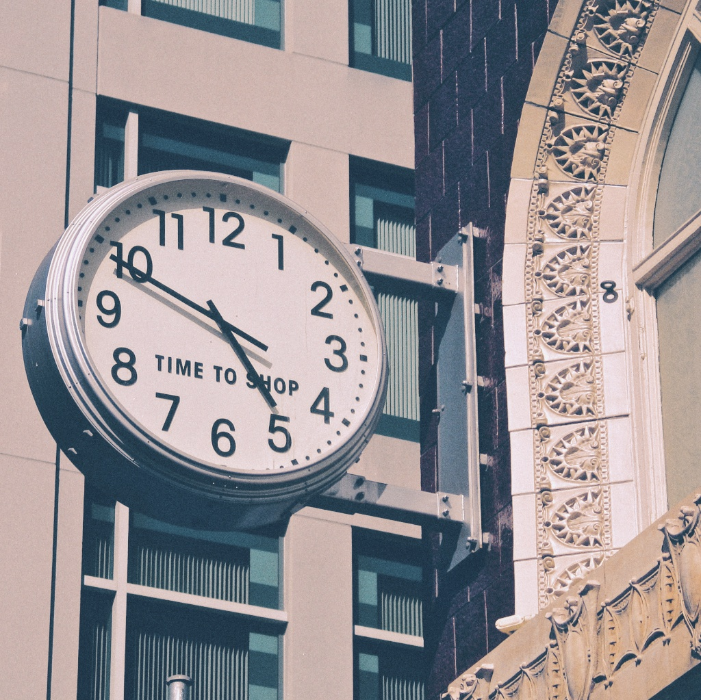 A clock in San Francisco's Union Square suggests it's always time to shop