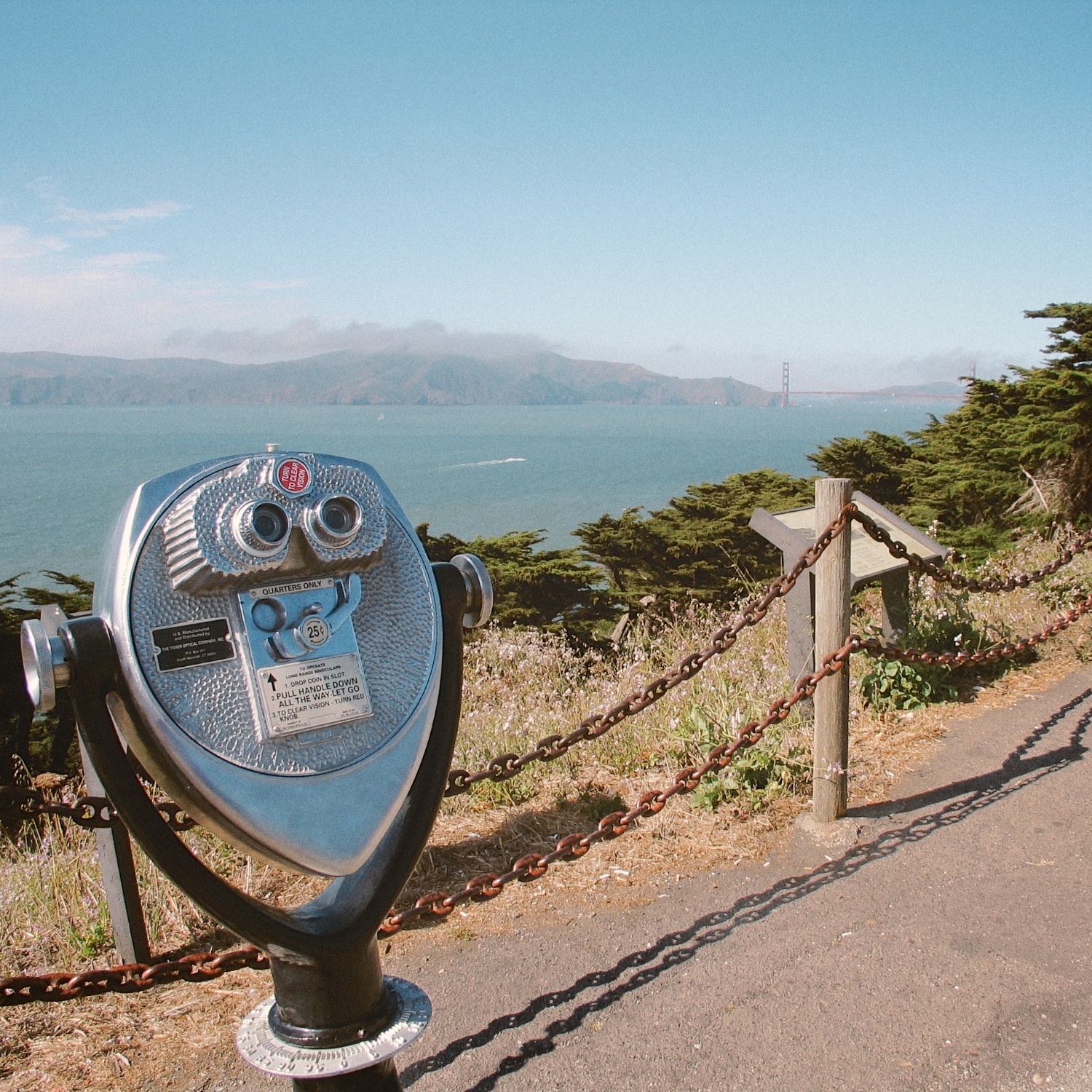 View of the Golden Gate Bridge from a lookout in Lands End