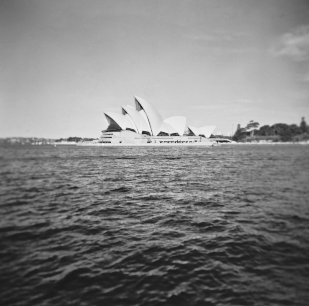 The Sydney Opera House photographed with a Holga on and developed with caffenol
