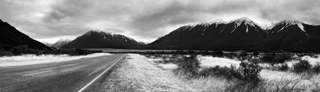 A beautiful road nestled amongst the Southern Alps in New Zealand's South Island.